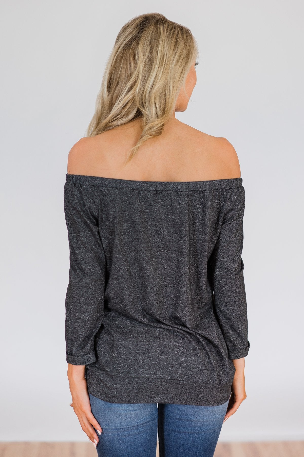 Found My Soulmate Off the Shoulder Top- Charcoal