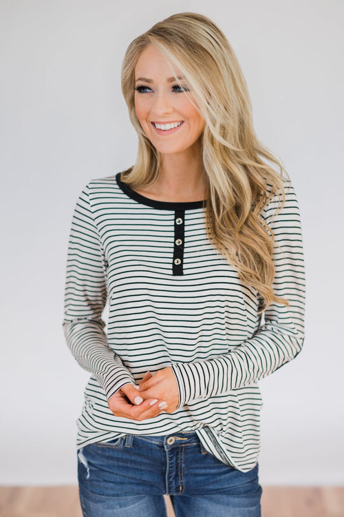 Striped Elbow Patch Long Sleeve Top- Black & White