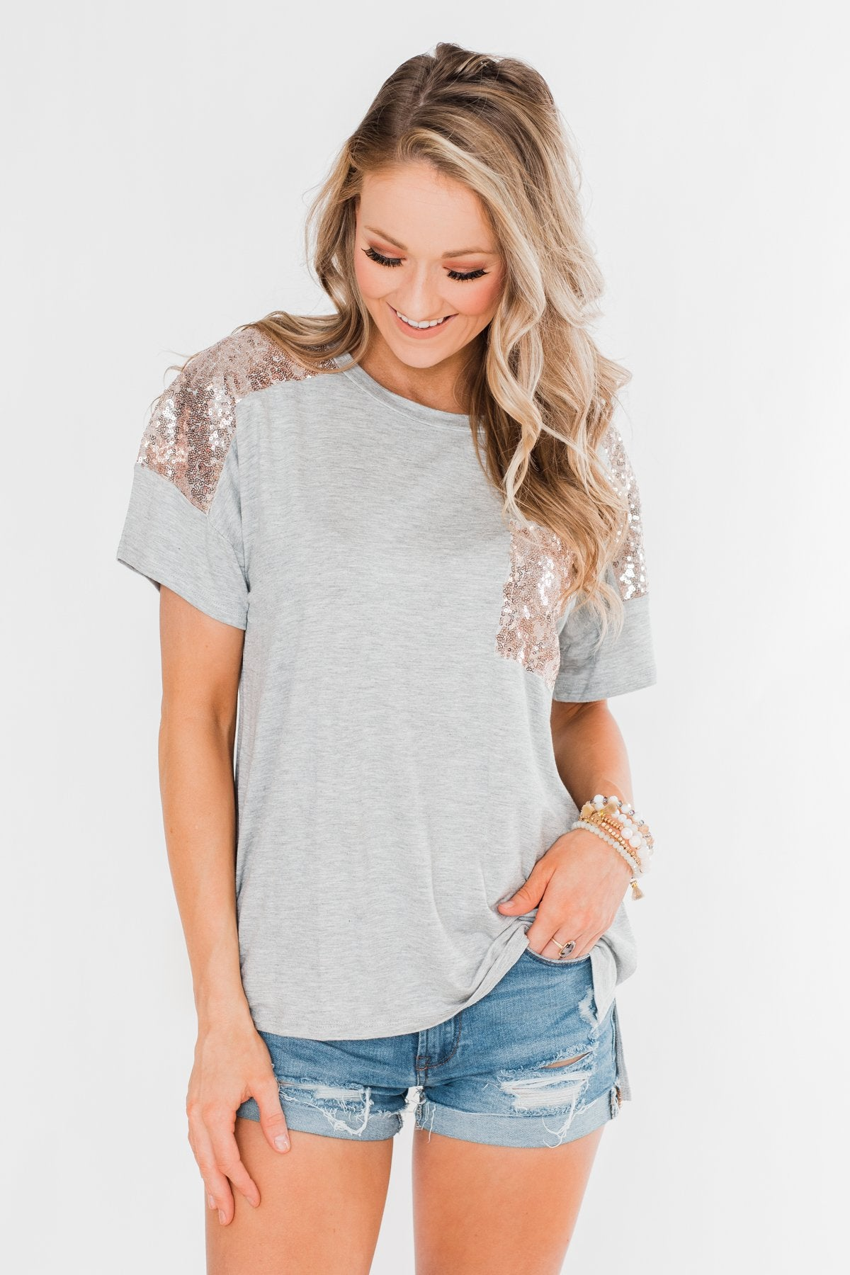 Heart Of Gold Sequin Pocket Top- Heather Grey