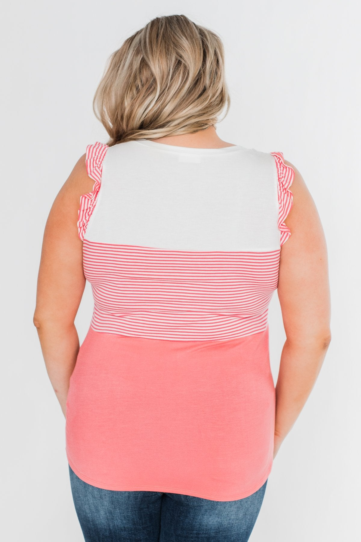 The Sweetest Thing Color Block Tank Top- Coral