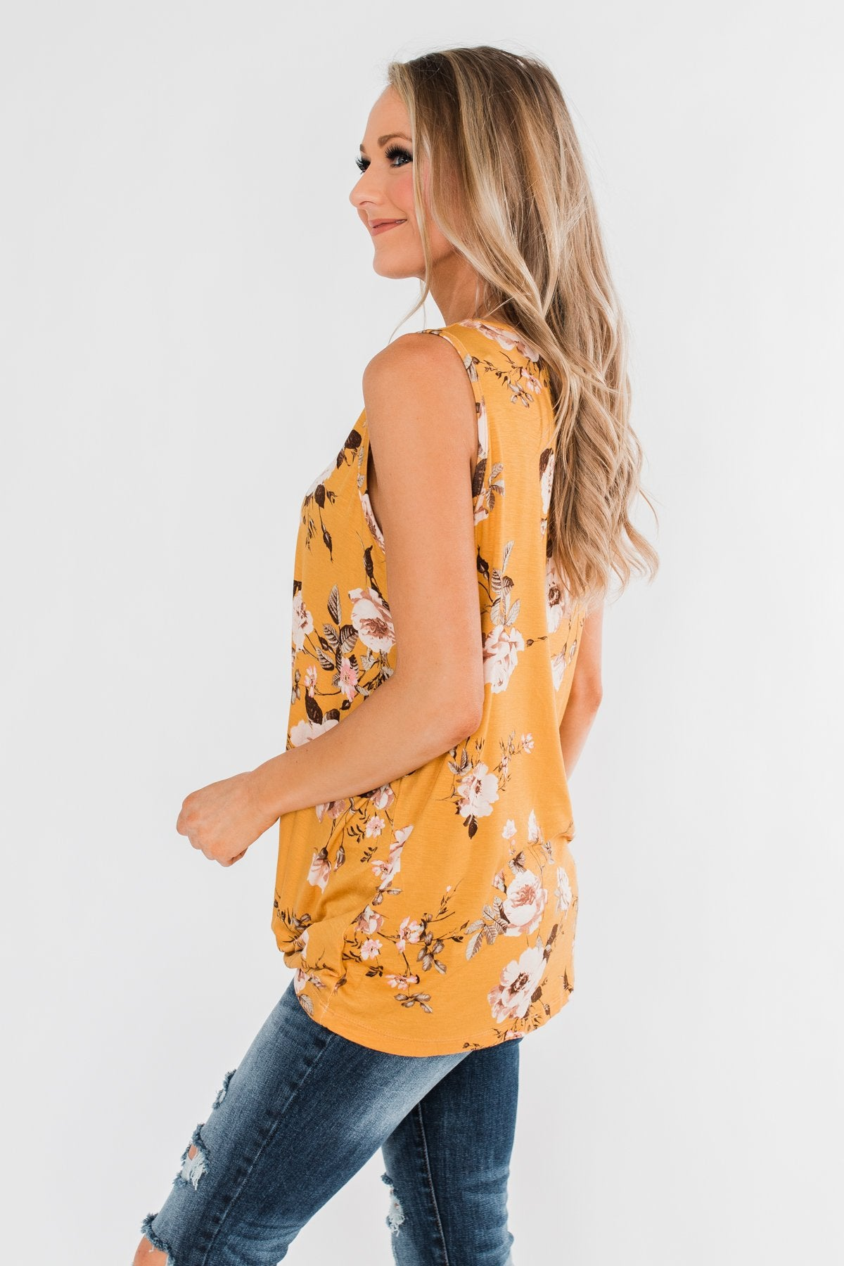 On Repeat Floral Criss Cross Tank Top- Mustard
