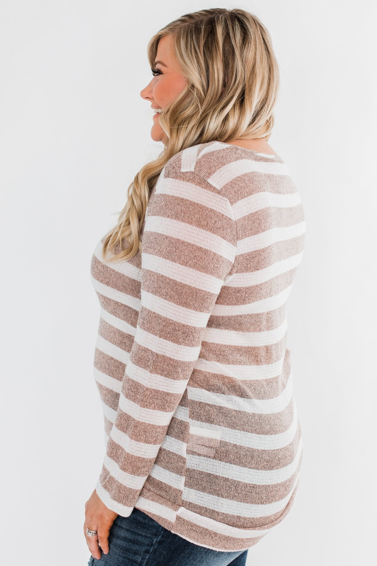 Just As You Are Striped Knit Top- Taupe