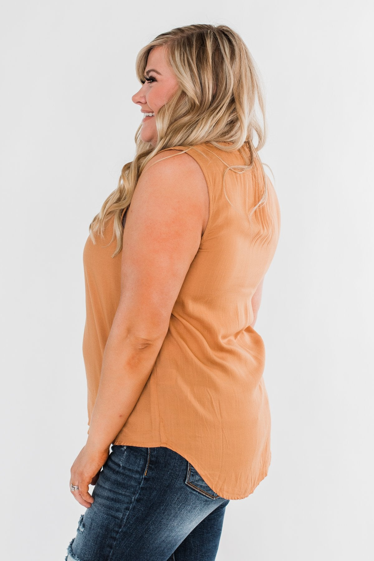 Larger Than Life Neck Tie Tank Top- Burnt Mustard