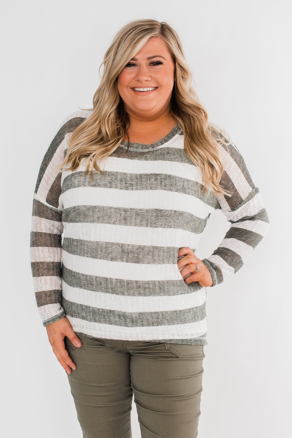 The Right Direction Striped Knitted Top- Olive