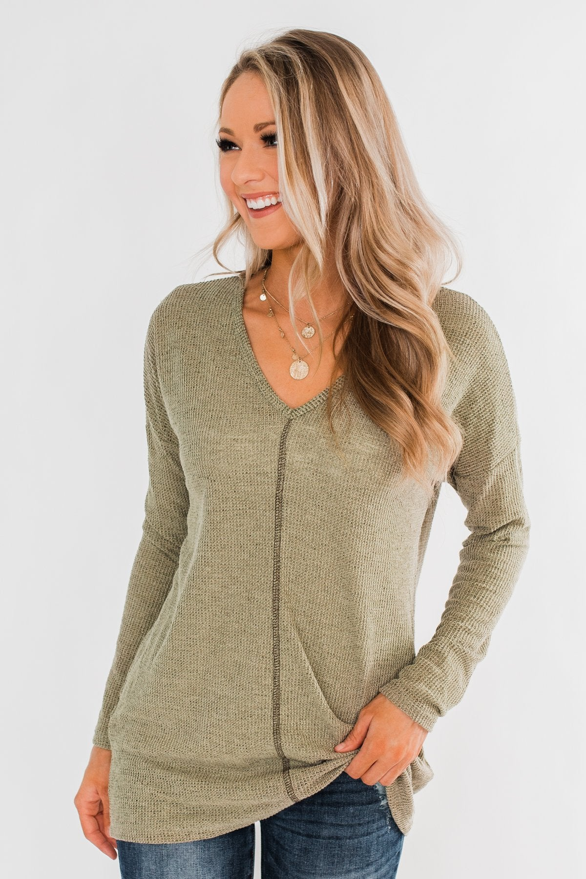 Simple As Can Be Knitted Top- Olive