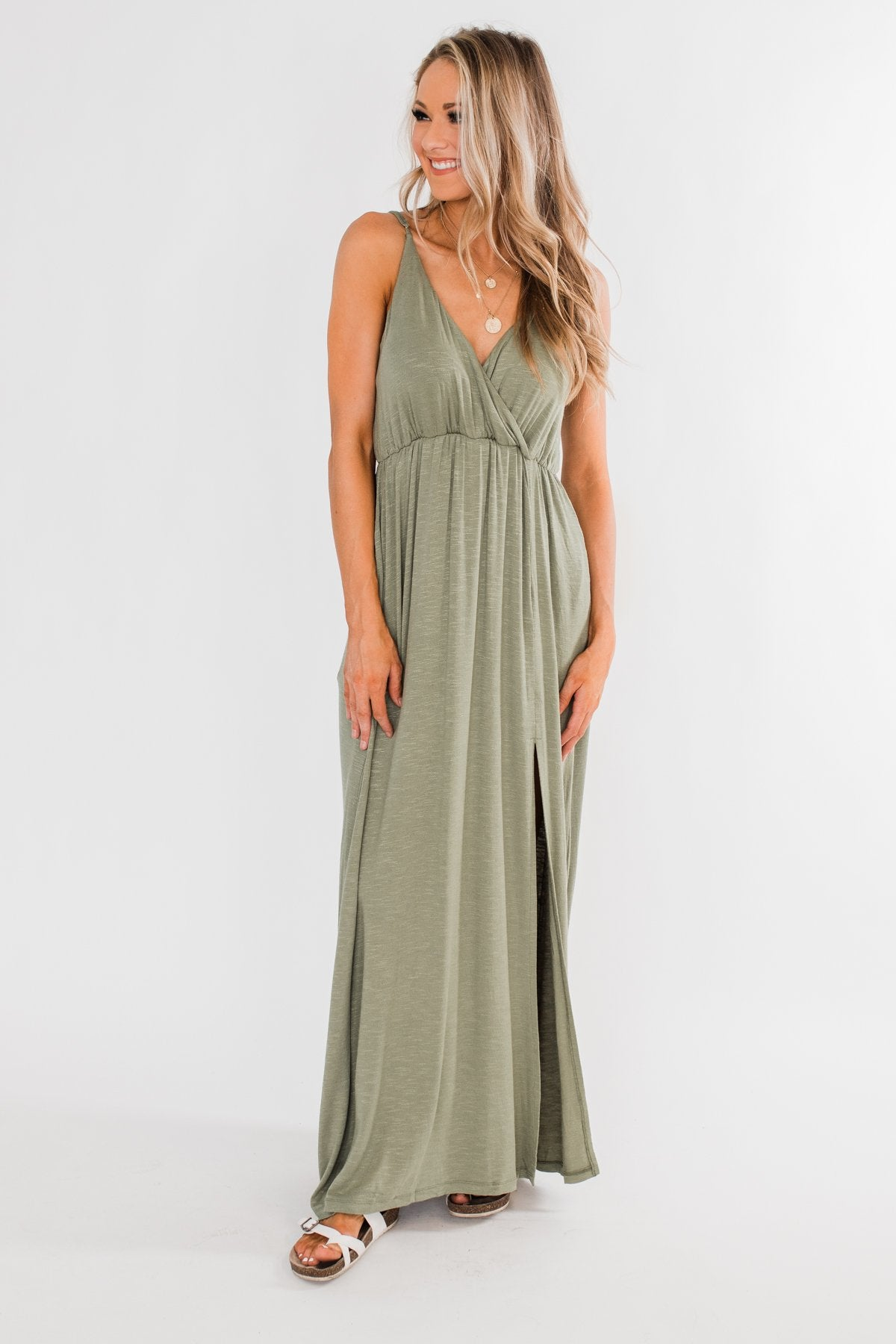 Next Right Step Maxi Dress- Olive