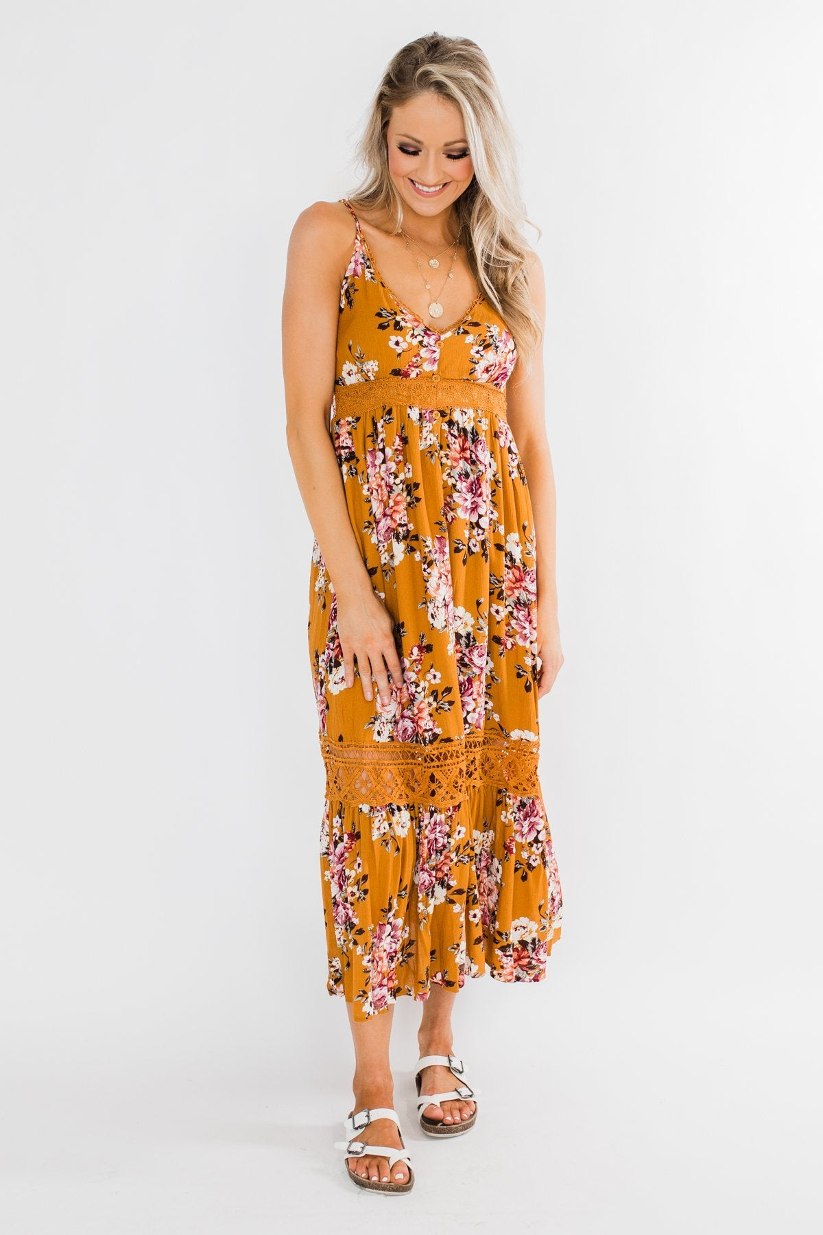 Drawn To You Floral Maxi Dress- Copper Yellow