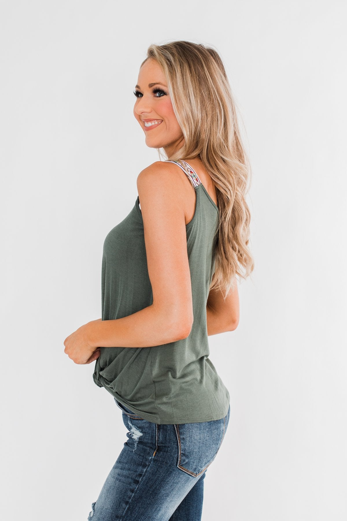 Somewhere Next To You Twist Tank Top- Olive