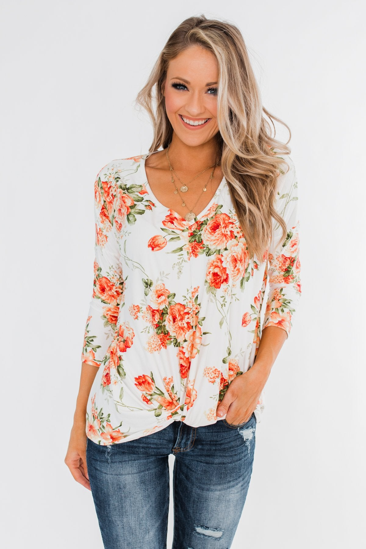 Lead Me In Love Floral Twist Top- Ivory