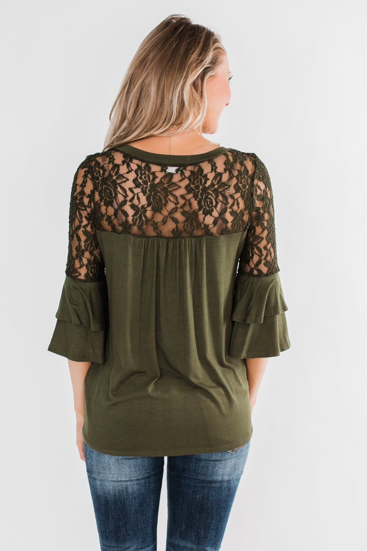 Right Beside Me Lace & Ruffles Top- Olive
