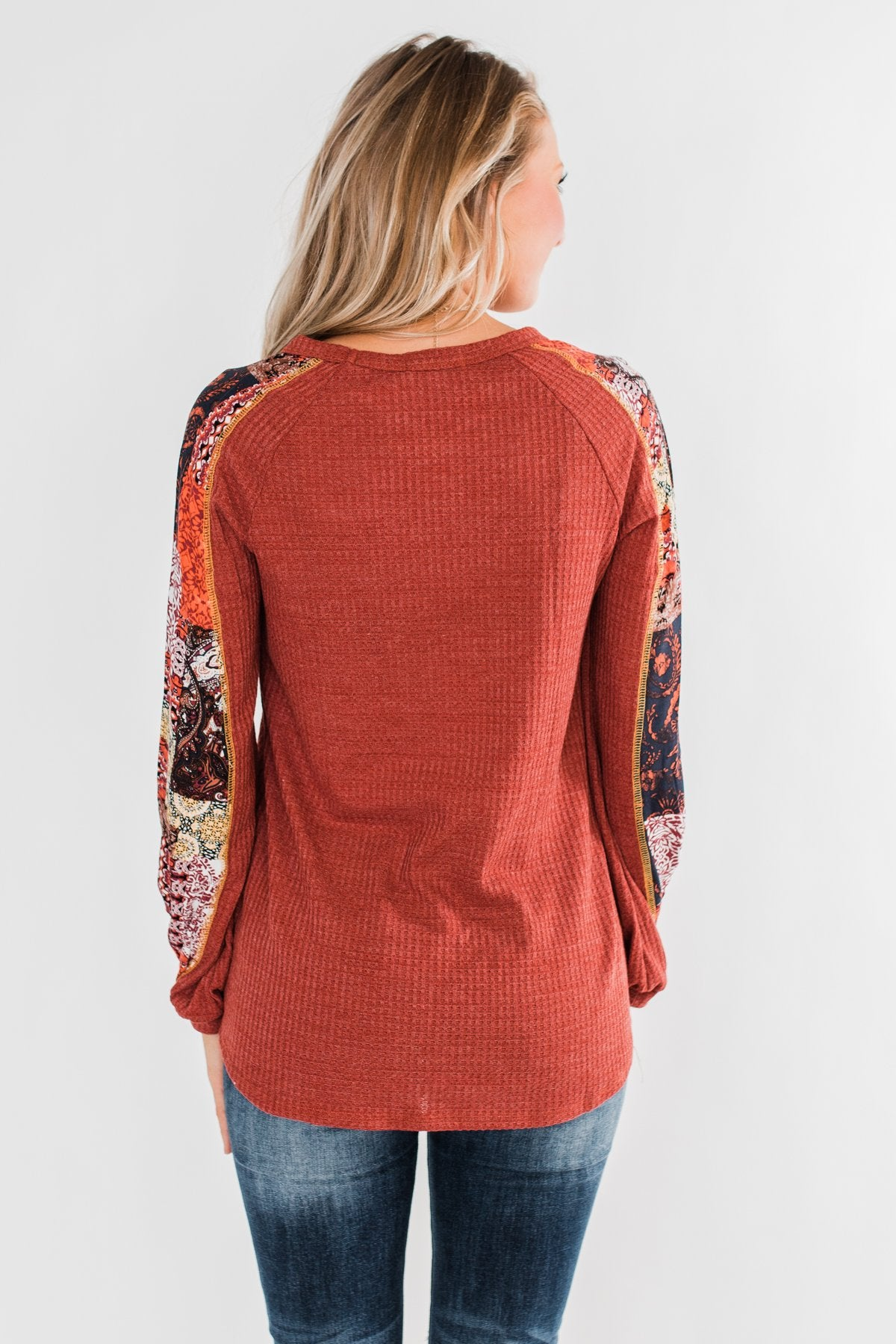 All To Myself Long Sleeve Top- Rust