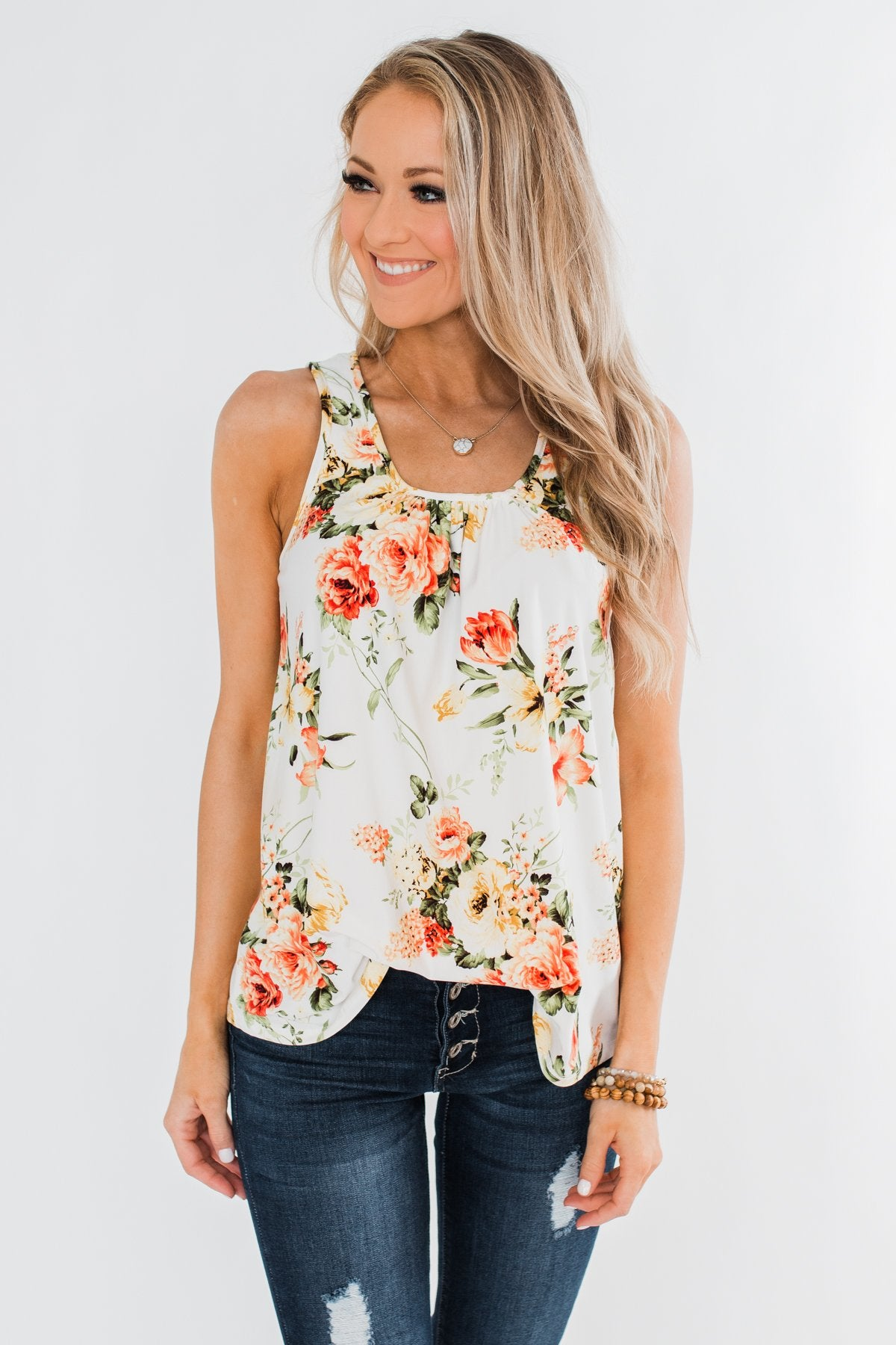 Lead Me To You Floral Tank Top- Ivory
