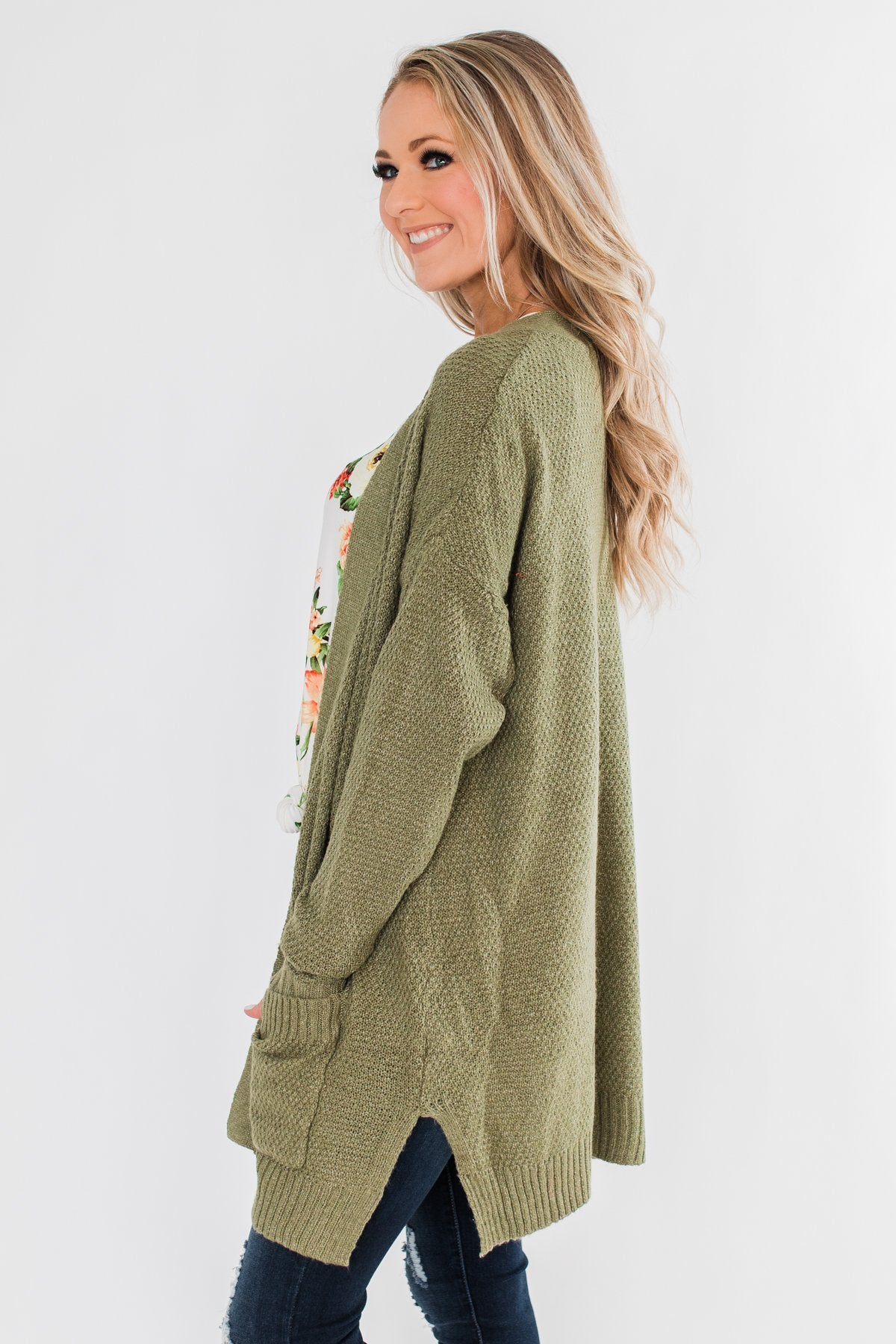 Cozy As Can Be Long Knitted Cardigan- Olive
