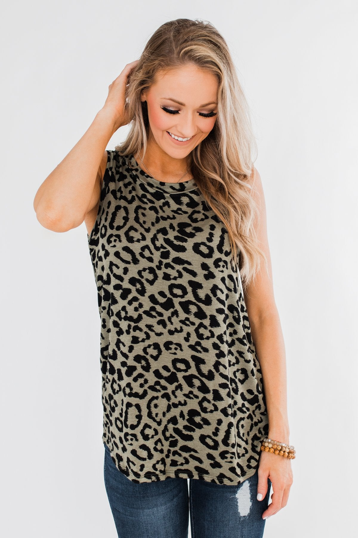 A Wild Idea Leopard Tank Top- Green