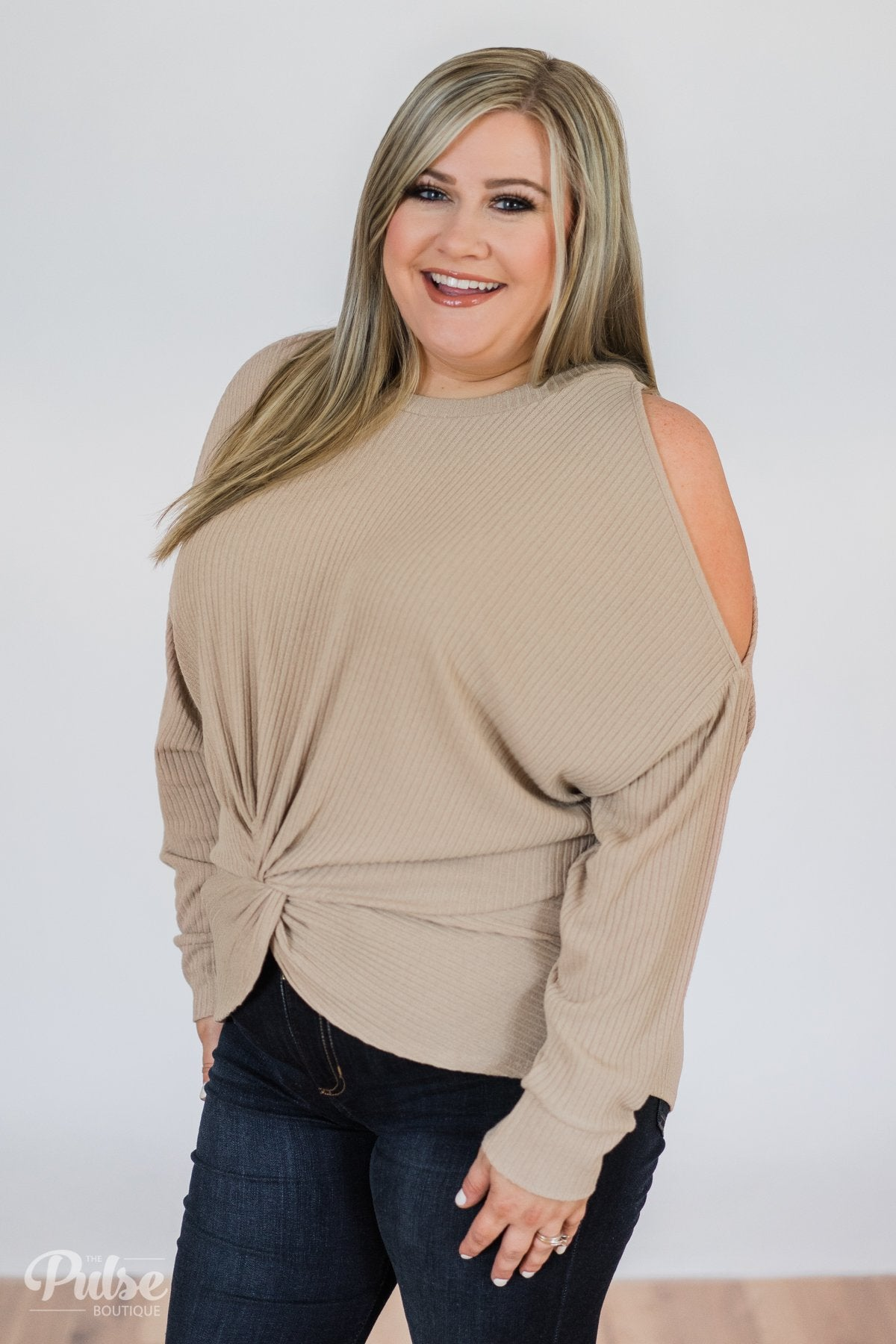 Flattering Twist Cold Shoulder Top- Taupe