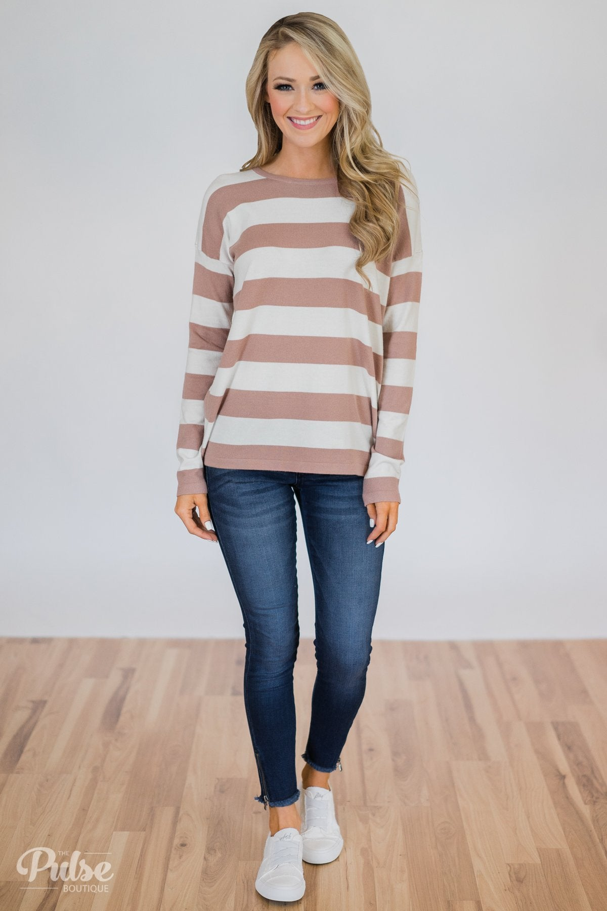 Stand by Me Striped Sweater -Dusty Mauve