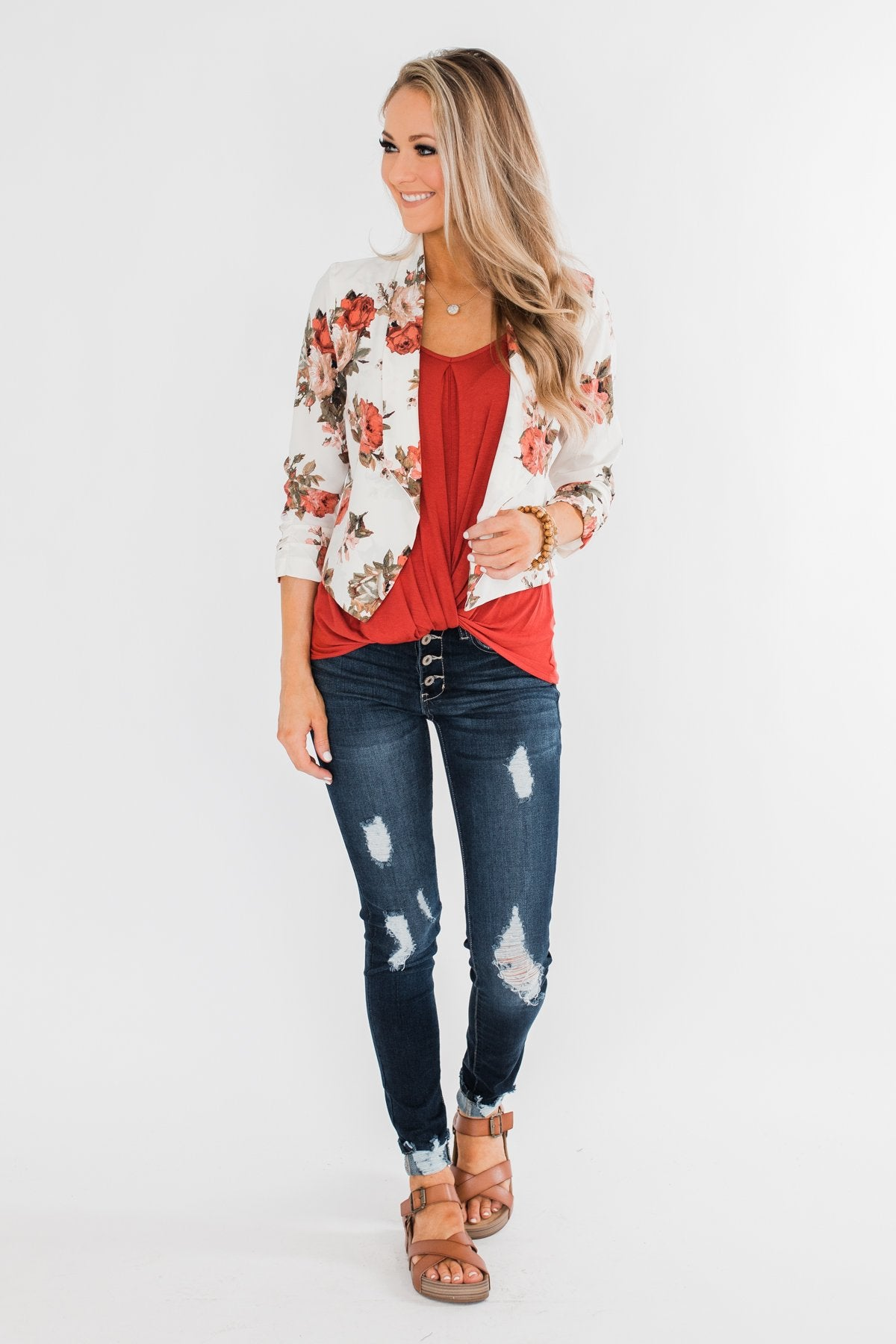 The Story Of Us Floral Blazer- Ivory