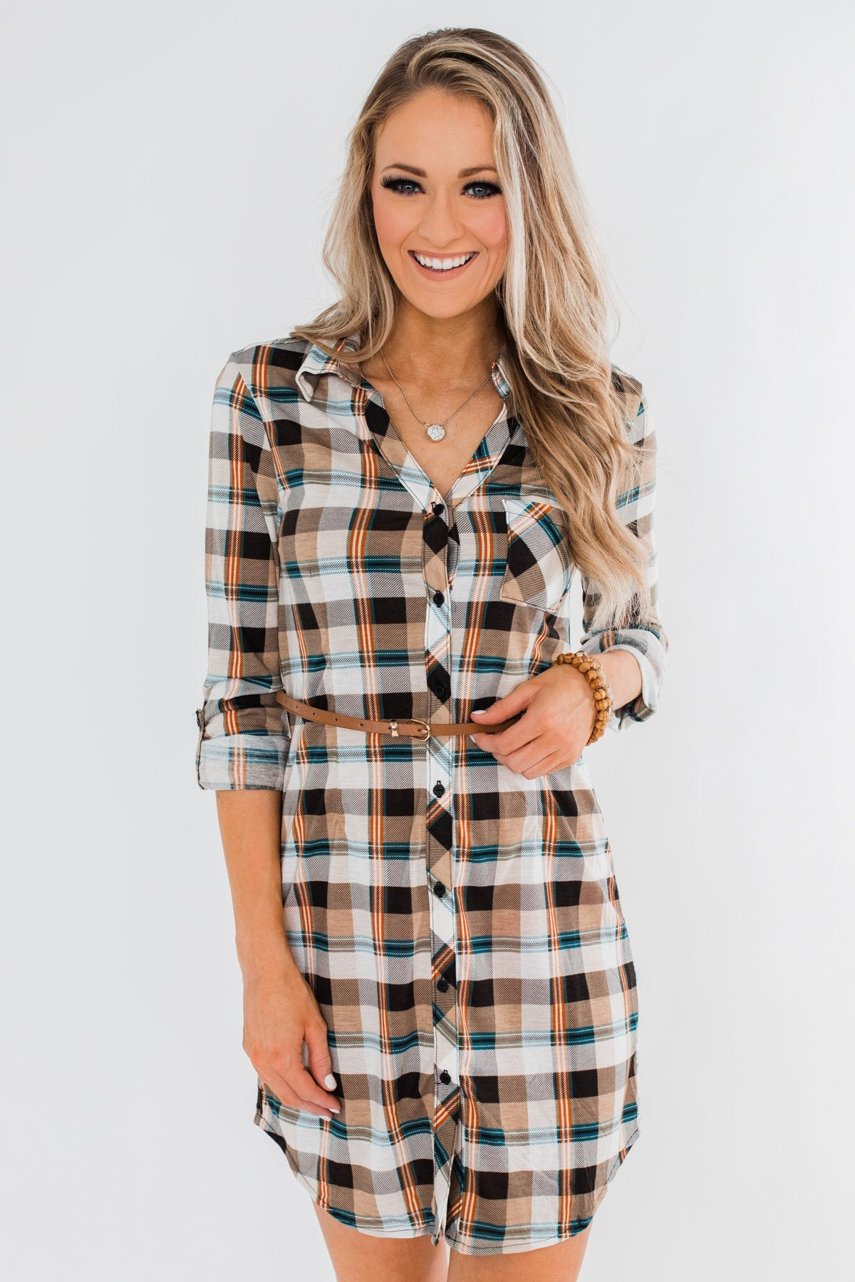 Working It Flannel Button Dress- Ivory & Brown