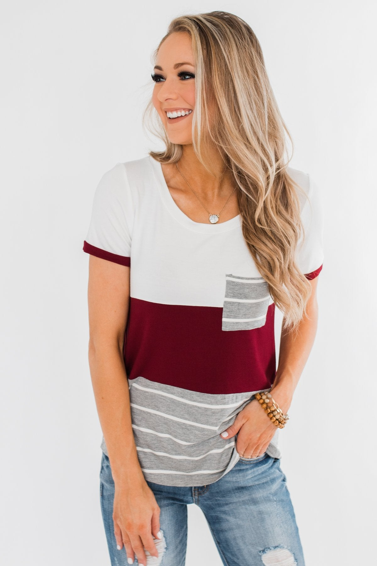 Right Here With Me Color Block Top- Ivory & Burgundy