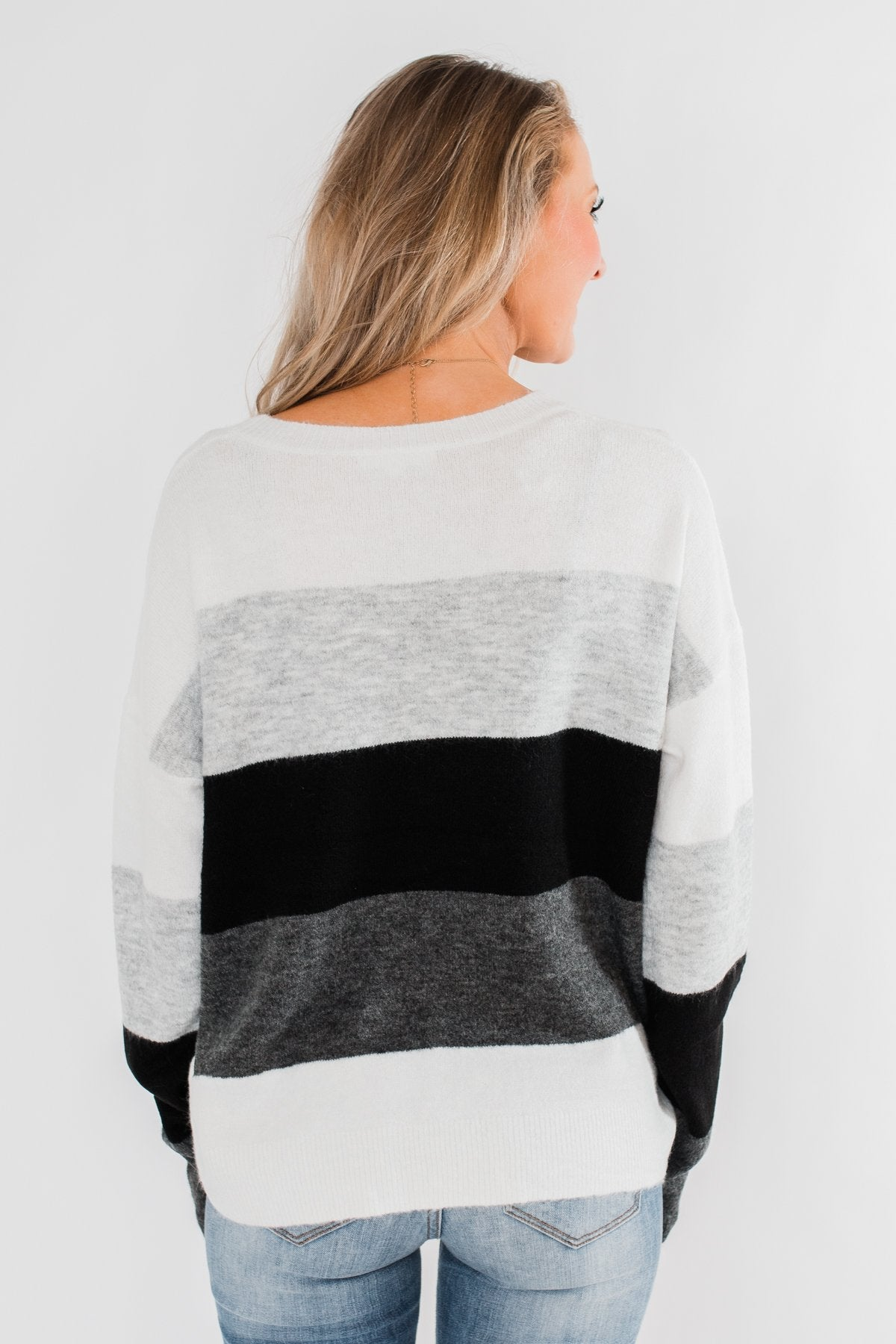 Mountain Getaway Color Block Sweater- Onyx Tones
