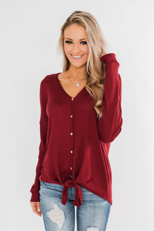 Thermal Button Knot Top- Red