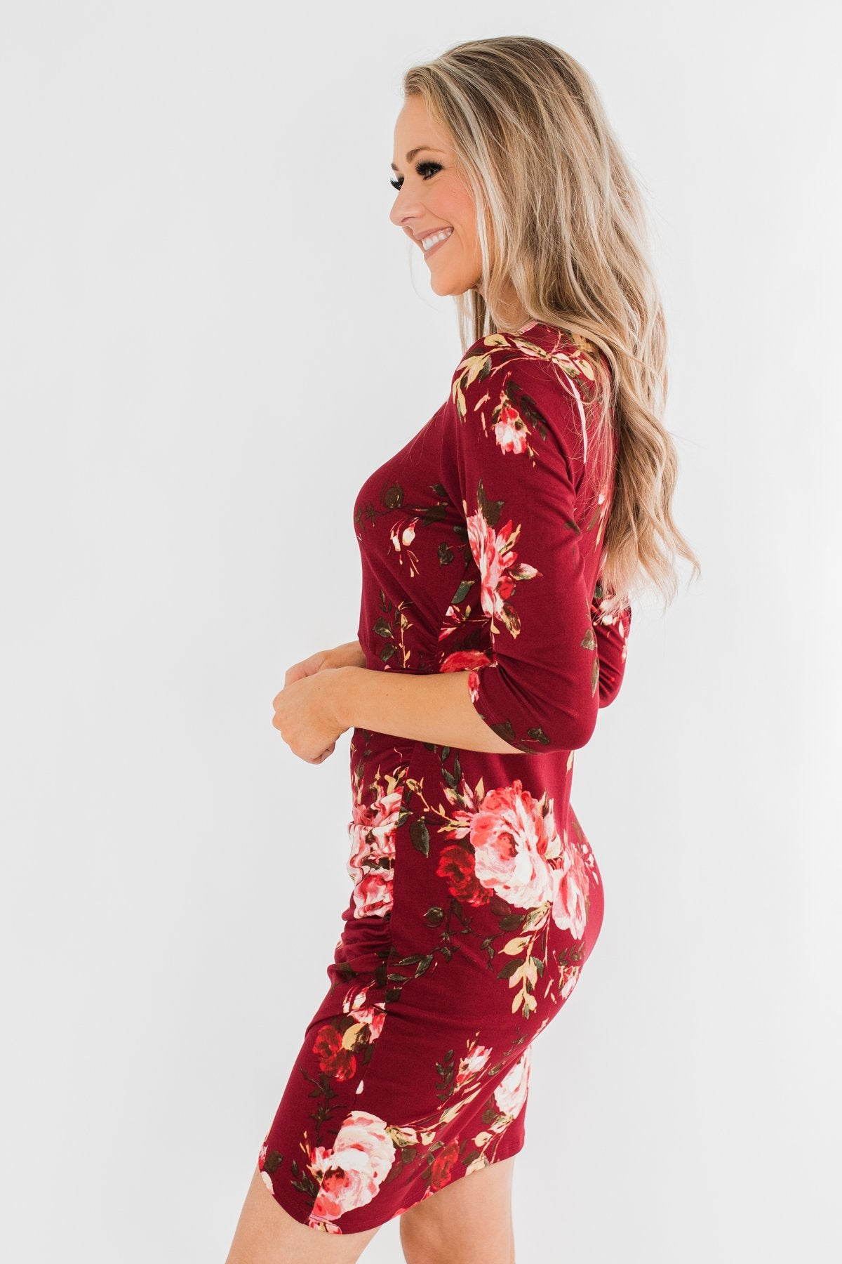 Stand In Your Love Floral Dress- Burgundy