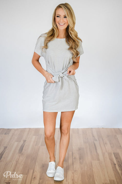 11ec9aca24 Tied For First Striped Short Sleeve Dress- White