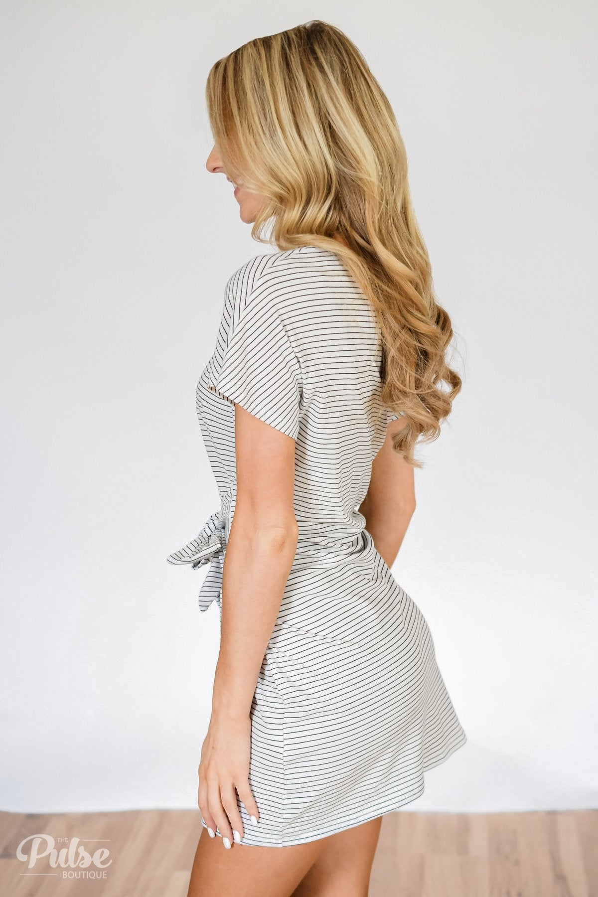 Tied For First Striped Short Sleeve Dress- White