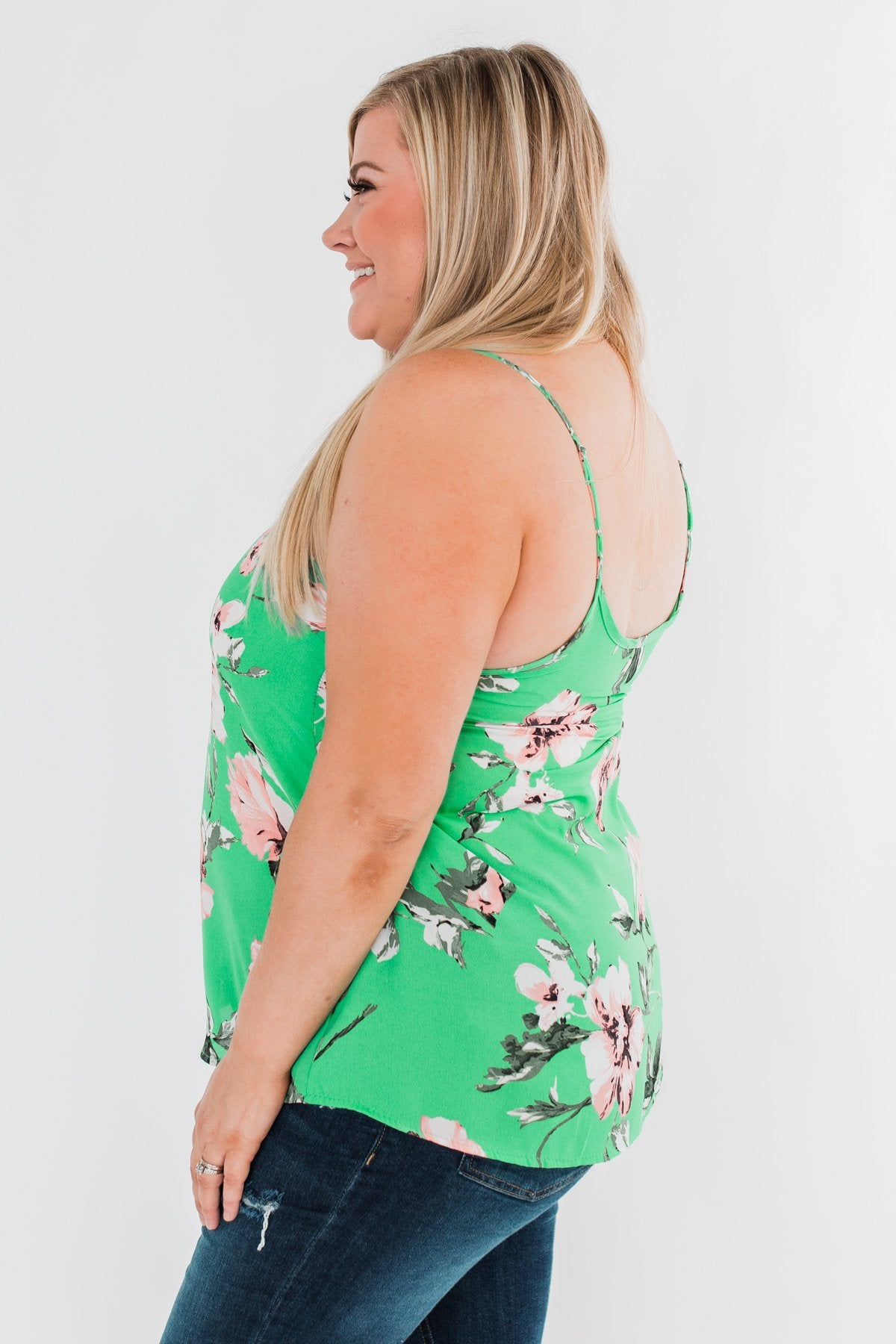 Breathtaking in Floral Tank Top- Emerald Green
