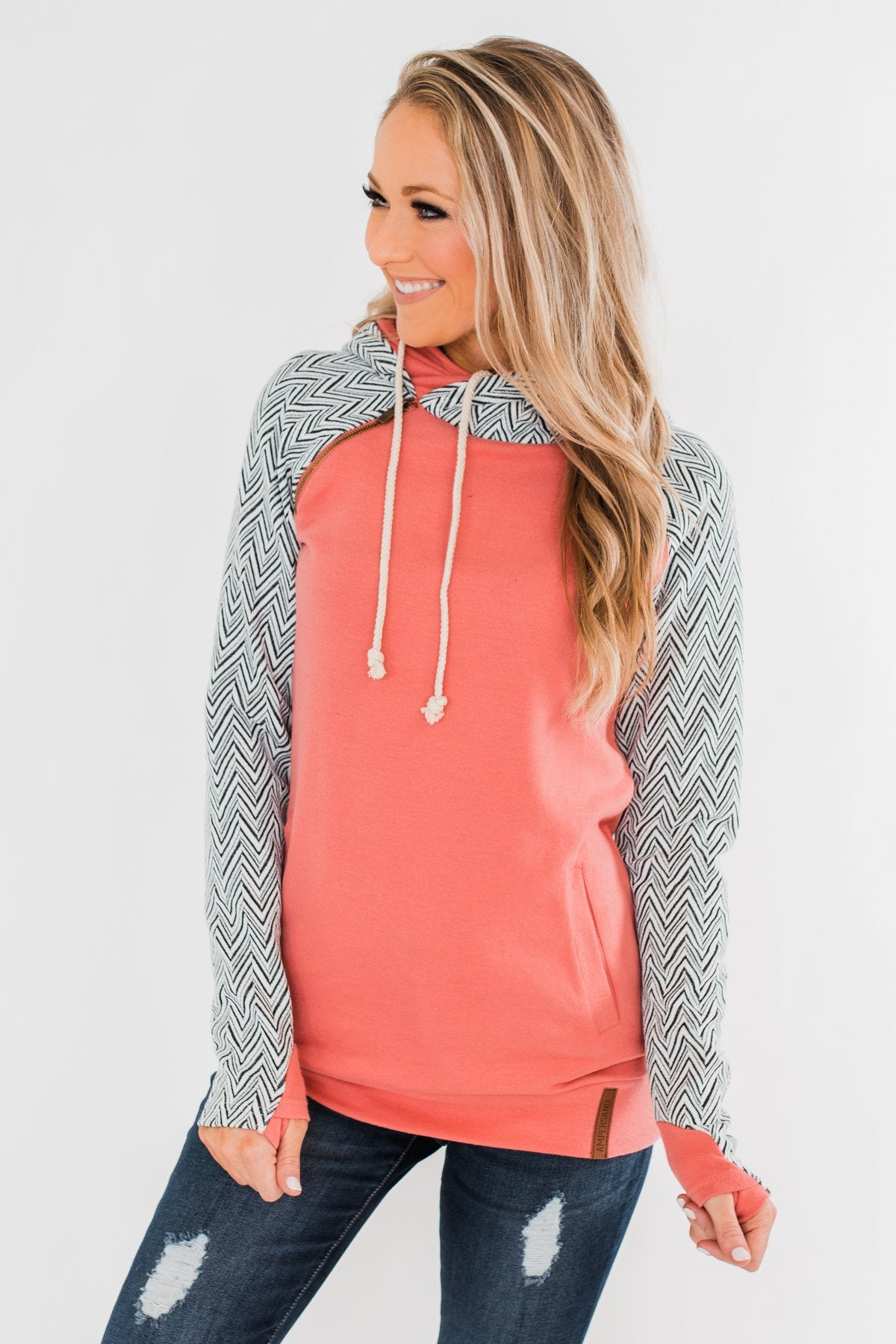 Chevron Ampersand Double Hood- Salmon