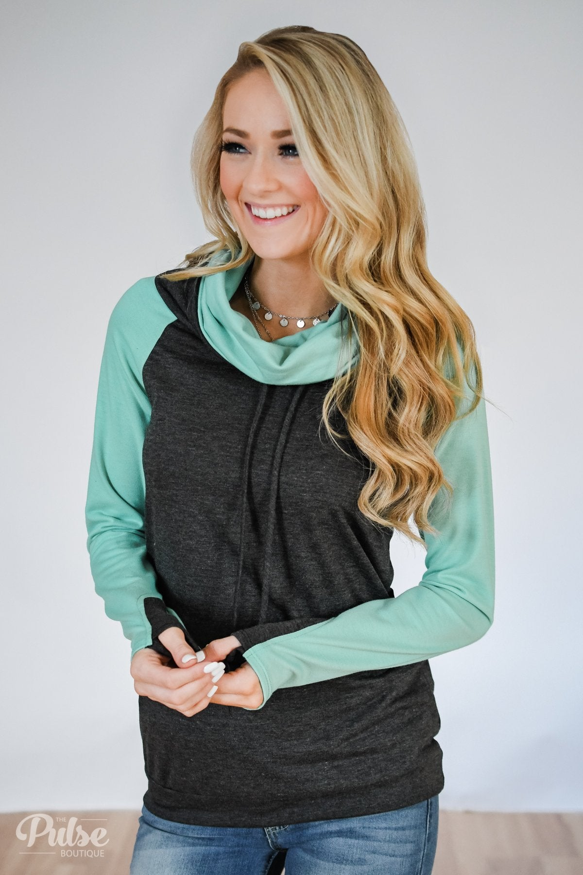 53094ee06b4 The Ultimate Mint & Charcoal Cowl Neck Top – The Pulse Boutique