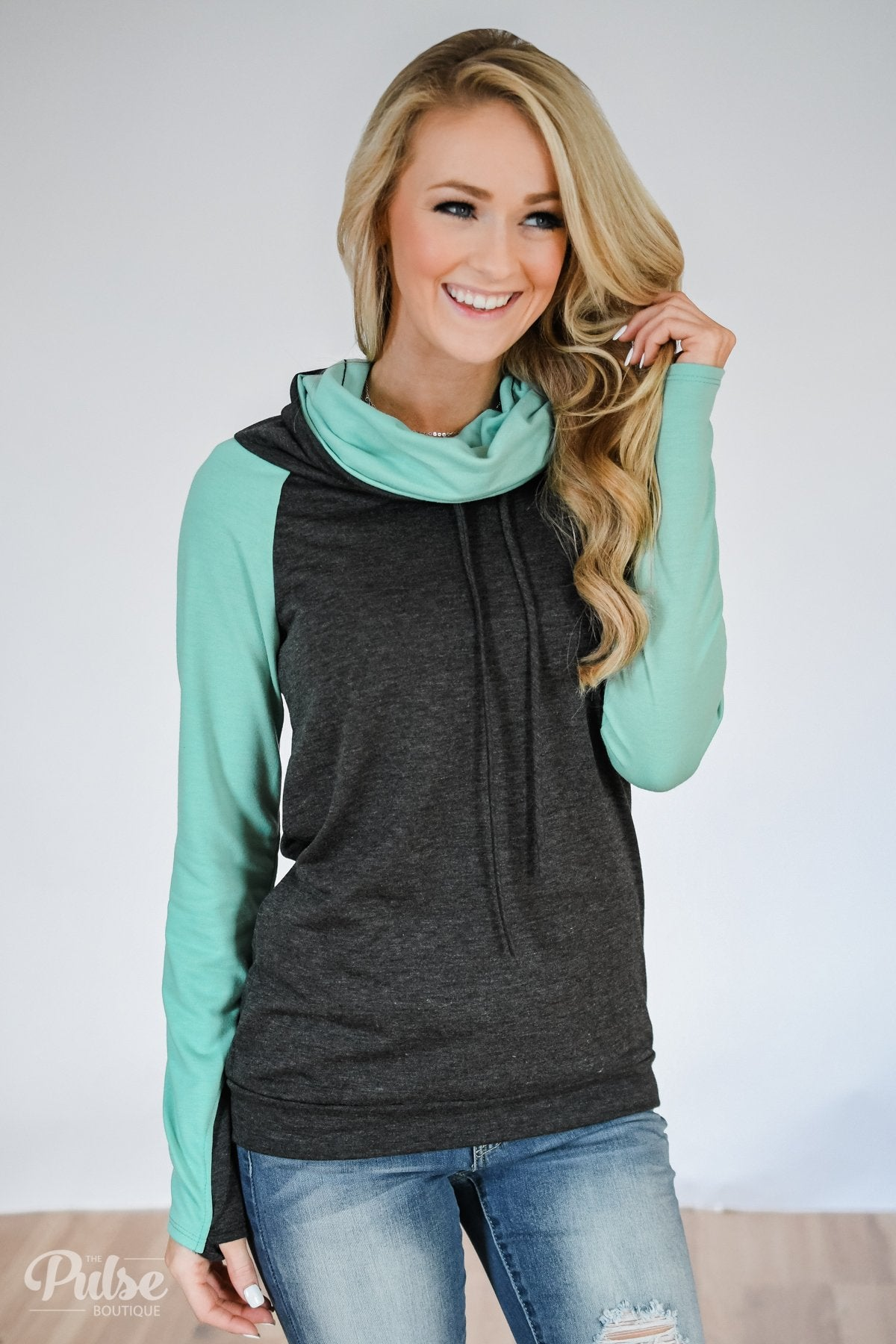 The Ultimate Mint & Charcoal Cowl Neck Top
