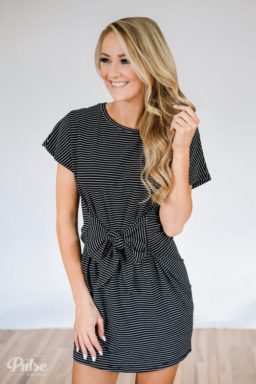 721dcb7eb5 Tied For First Striped Short Sleeve Dress- Black