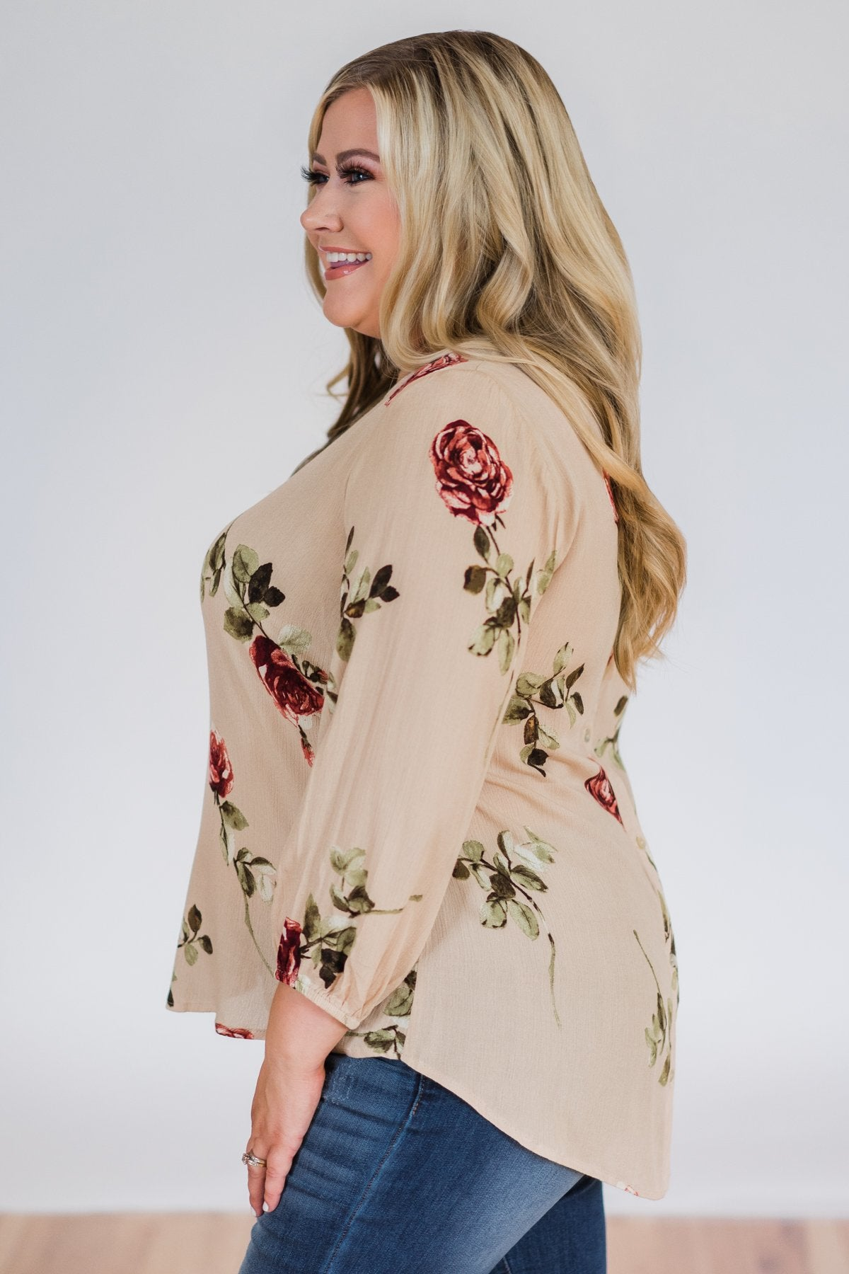 Button Up Back Floral Blouse- Taupe