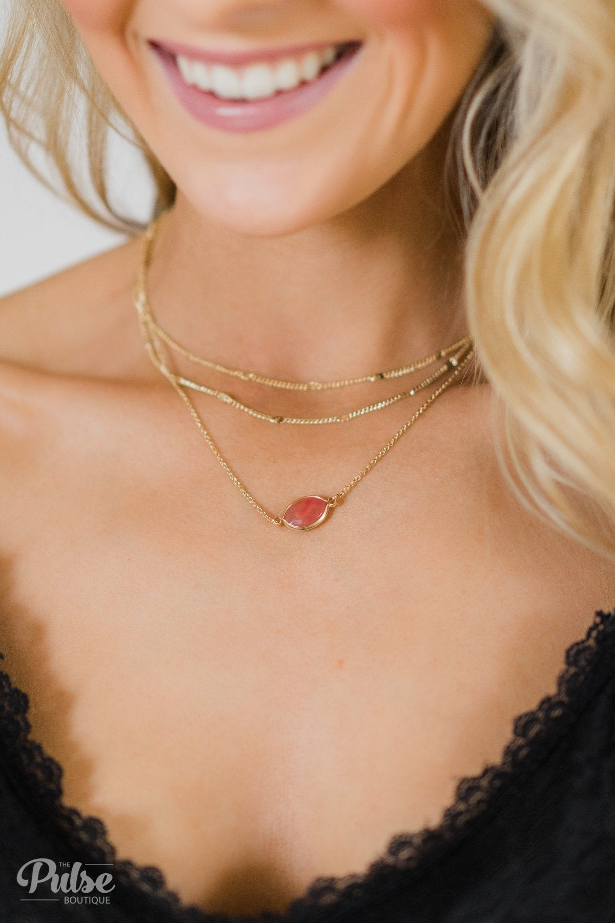 3 Tier Peach Stone Necklace- Gold