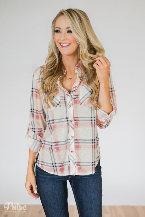 Plaid Perfection- Ivory & Pink