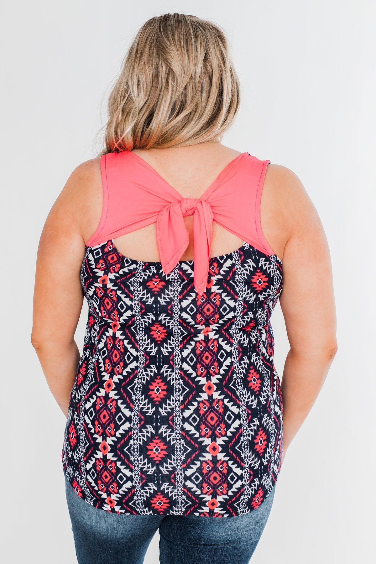 We Found Love Aztec Bow Tank Top- Navy & Neon Pink