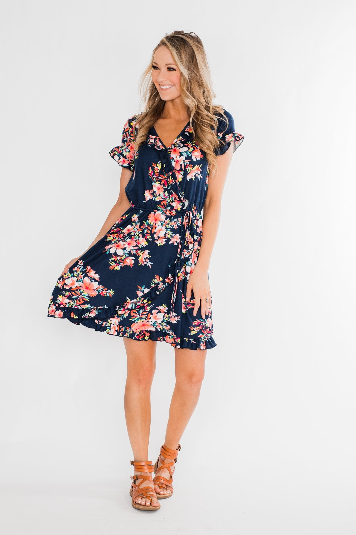 What Lovers Do Floral Wrap Dress- Navy