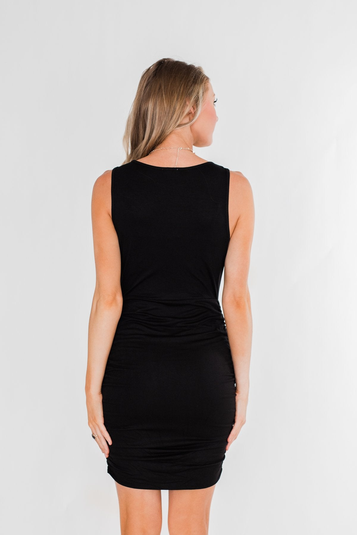 Simple & Chic Cinched Fitted Dress- Black