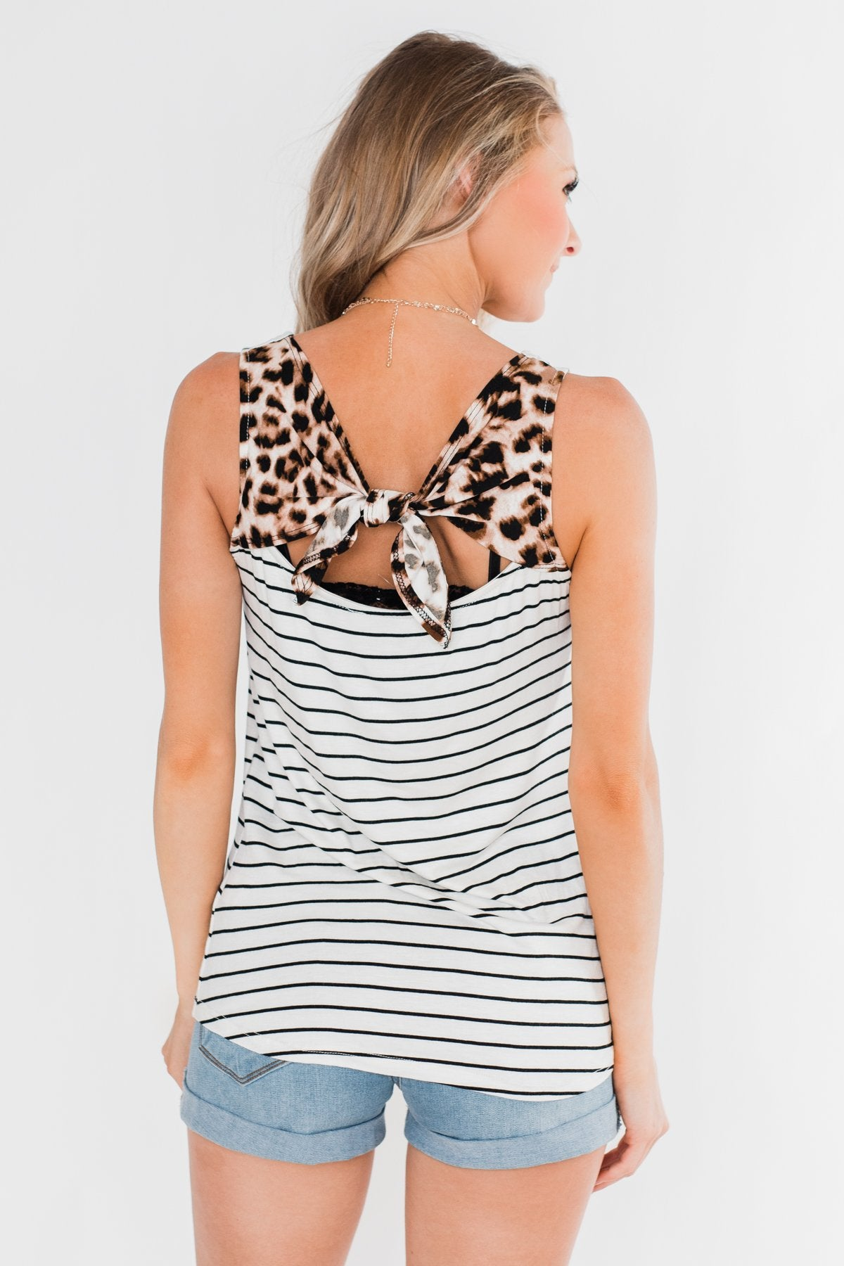 Tied Up In Leopard Bow Tank Top- Ivory
