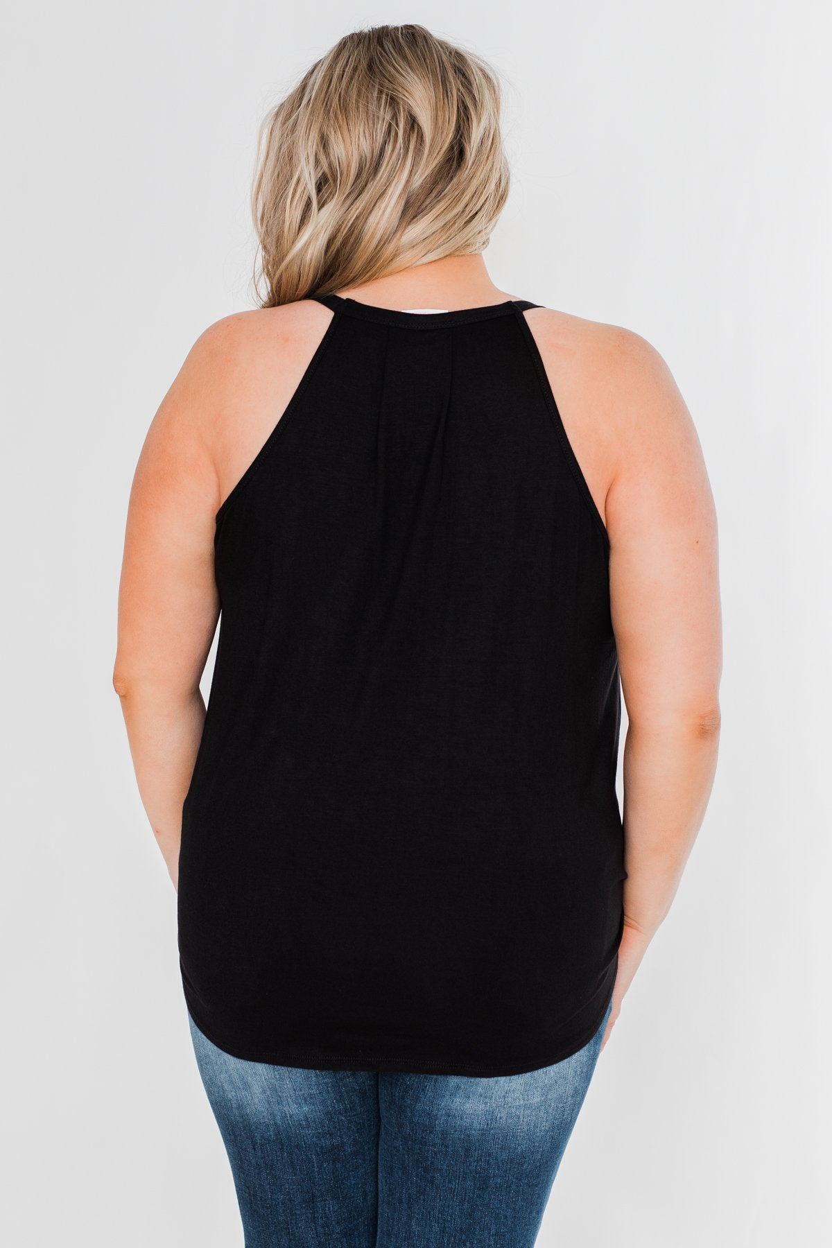 Something Simple Wrap Tank Top- Black