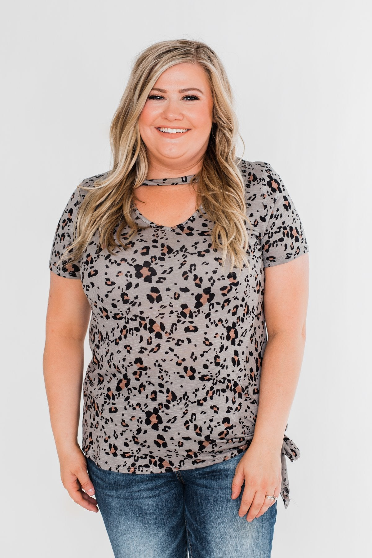 Into The Wild Leopard Tie Top- Slate Grey