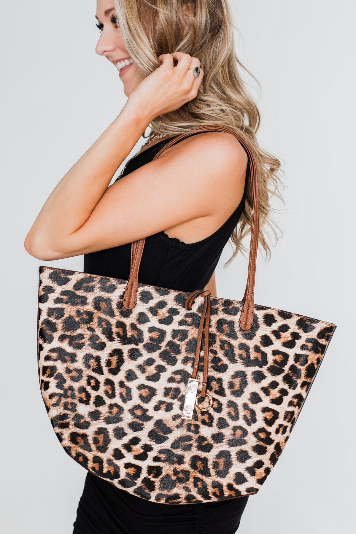 Reversible Tote- Light Brown/Leopard