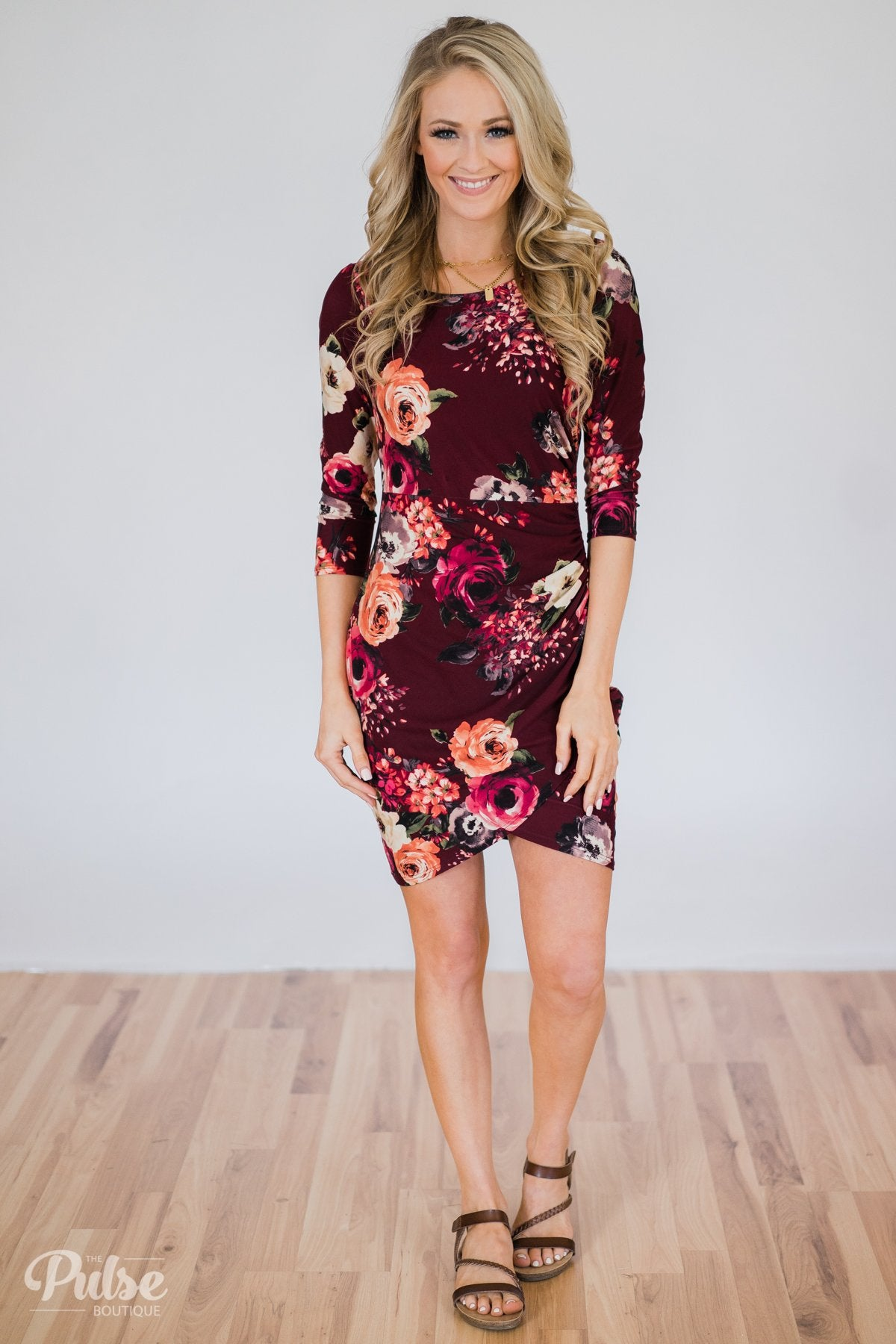 Picture Perfect Moment Dress- Burgundy