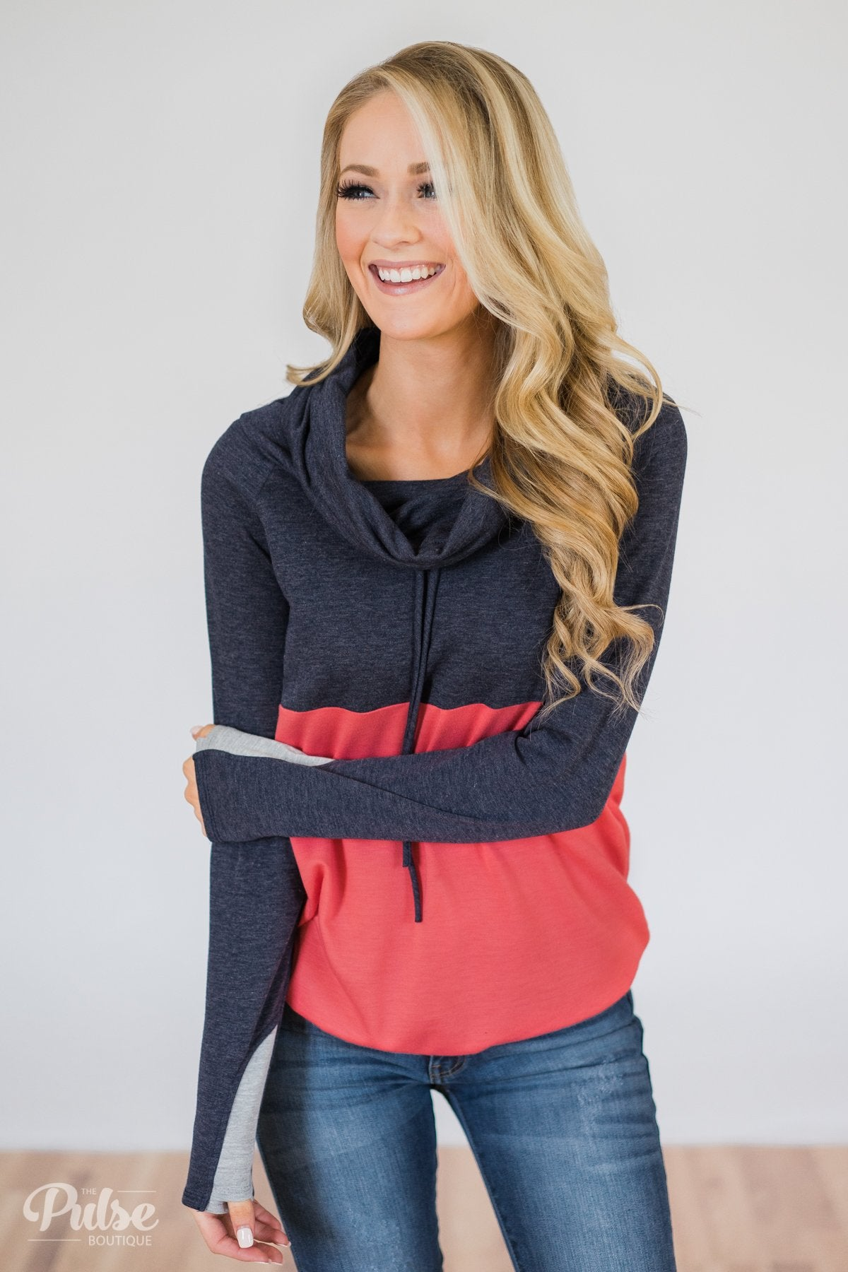 Color Block Cowl Neck- Navy & Coral