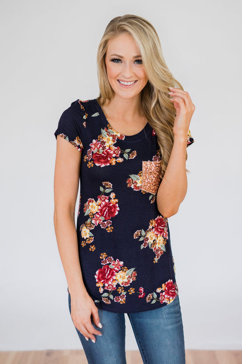 Navy and Burgundy Floral Glam Pocket Top