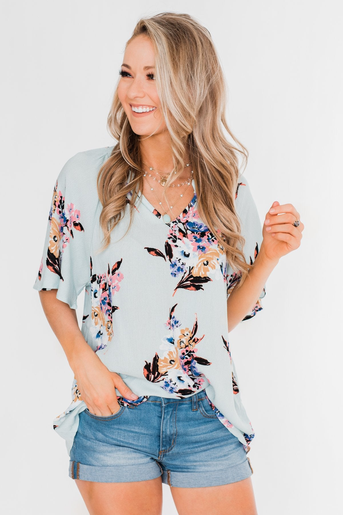Chase Your Dreams Floral Blouse- Sky Blue