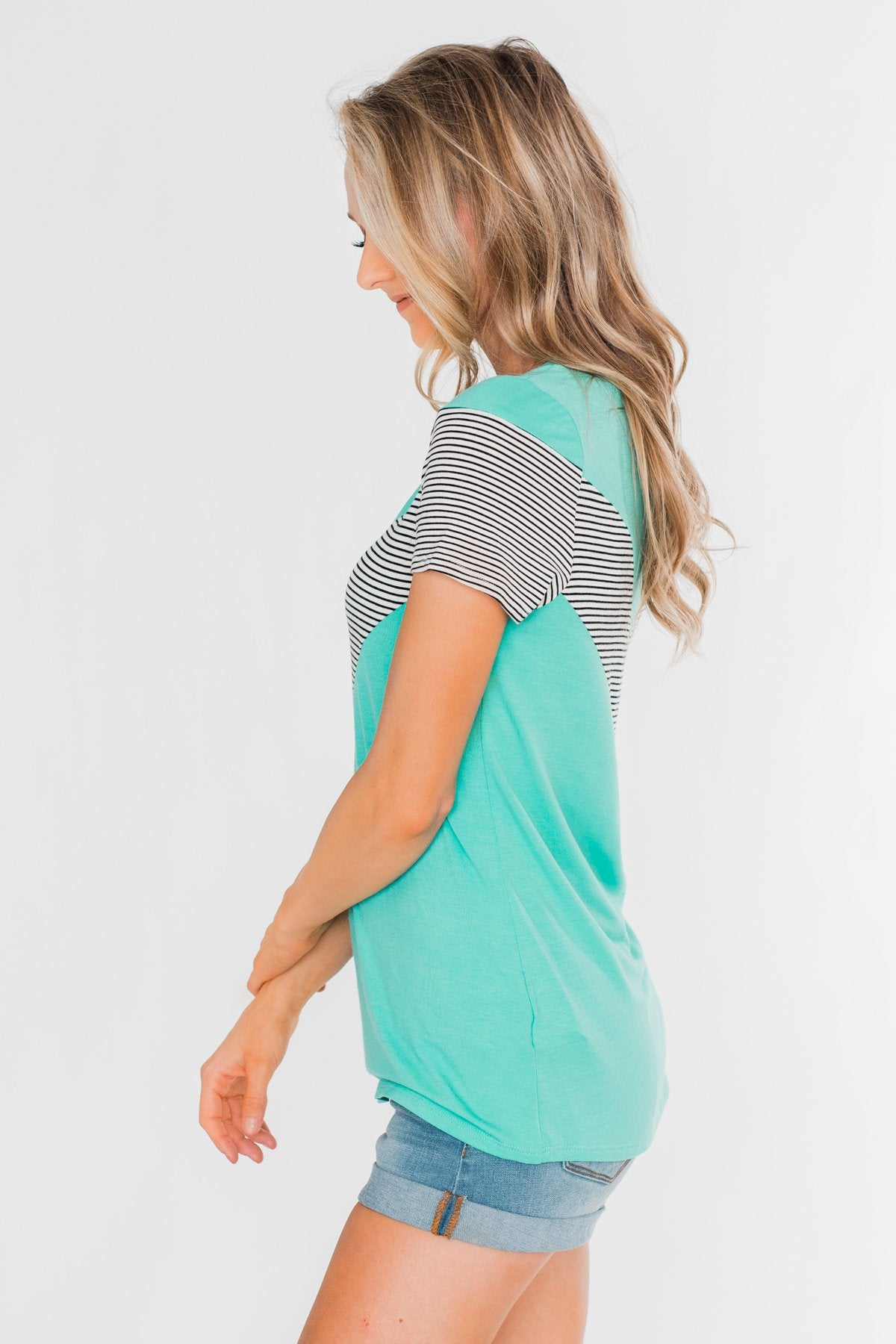 Striped Chevron Short Sleeve Top- Dark Aqua