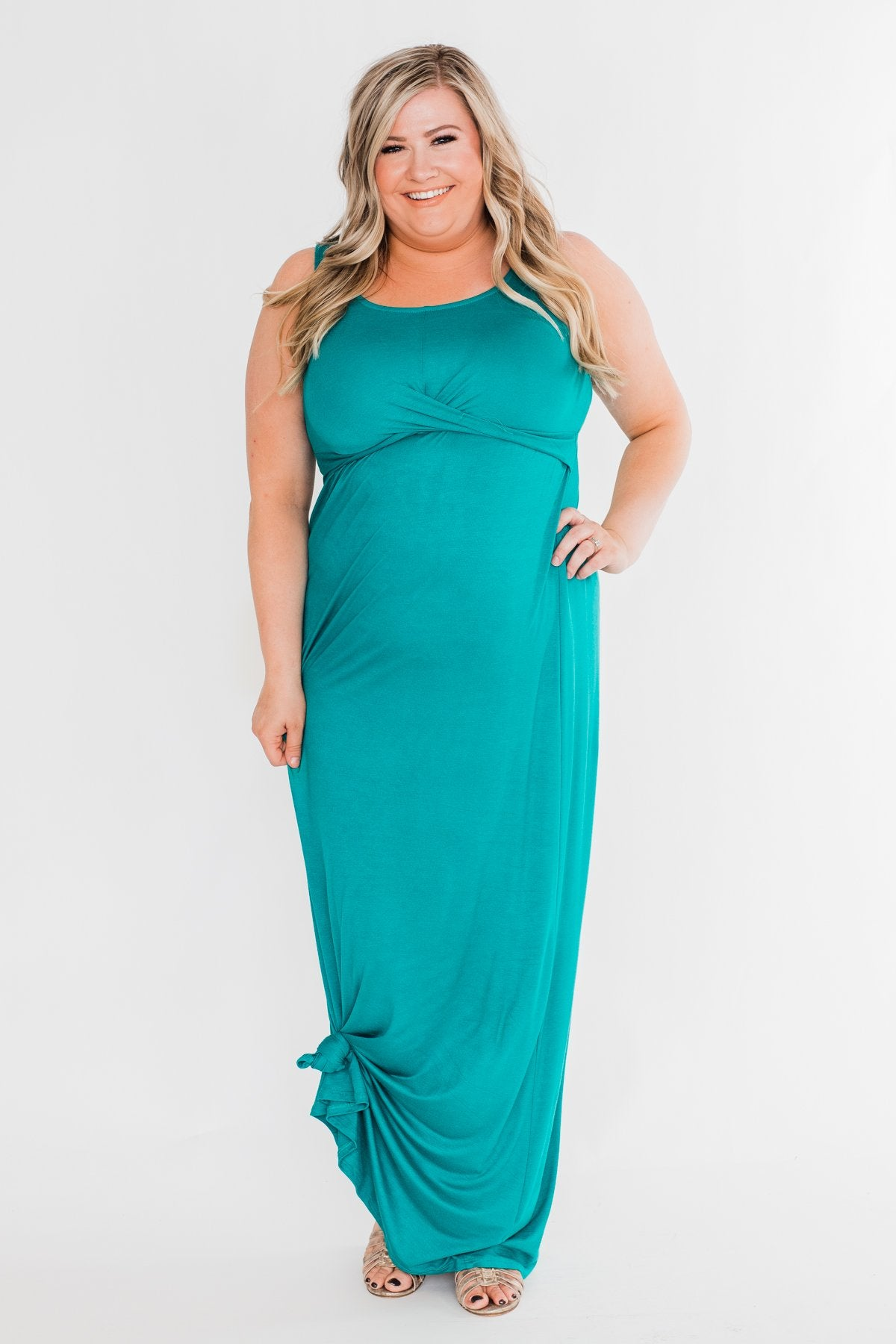 Front Wrap Maxi Dress- Dark Turquoise