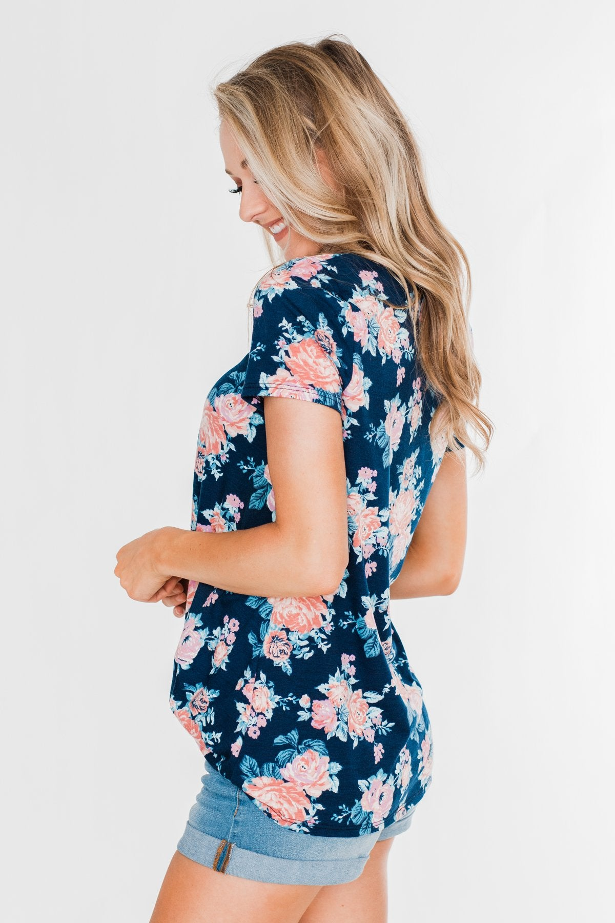 Sing With Me Floral Short Sleeve Knot Top- Navy